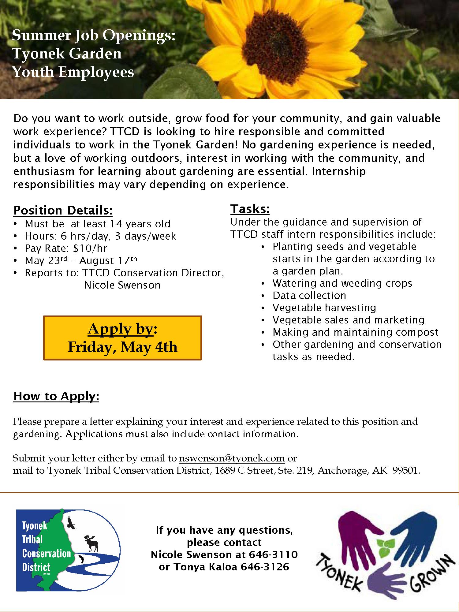 Student Garden Employee Flier - 2018 new
